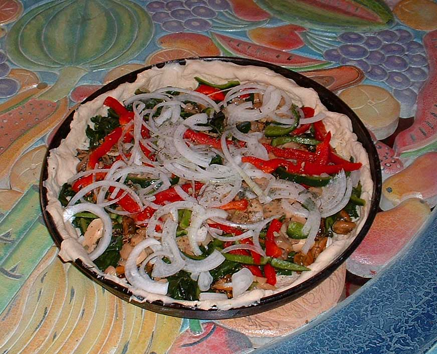 Spinach, etc pizza-raw