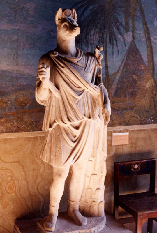 The God Anubis, god of mummification in Roman style.