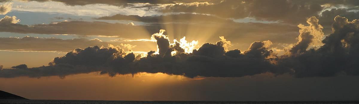 Dramatical panoramic sunset