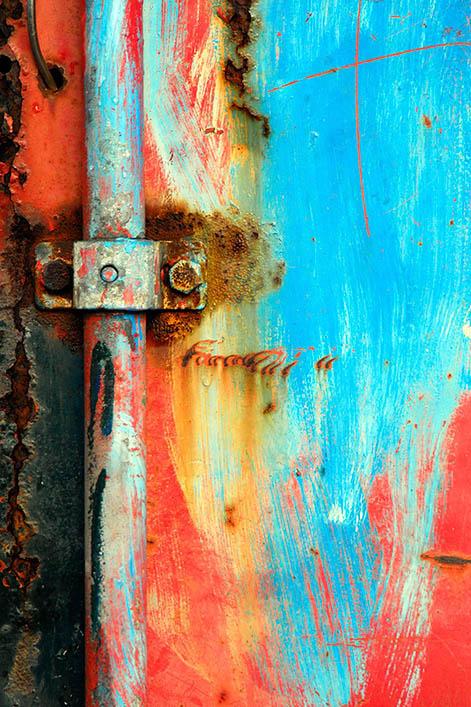 A colored rusty door