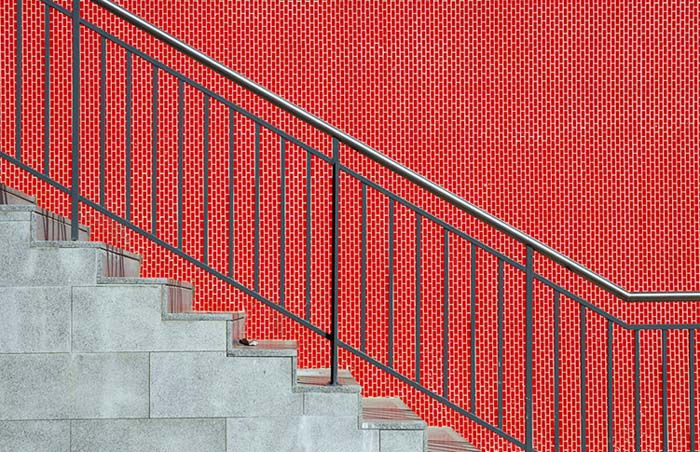 The stairs and the red wall