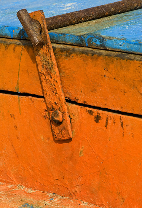 Orange and rust with a touch of blue