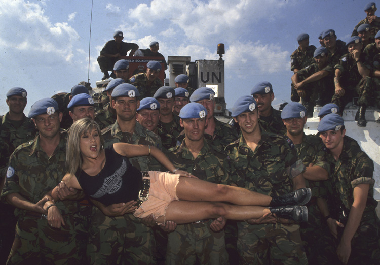 Page three girl with squaddies