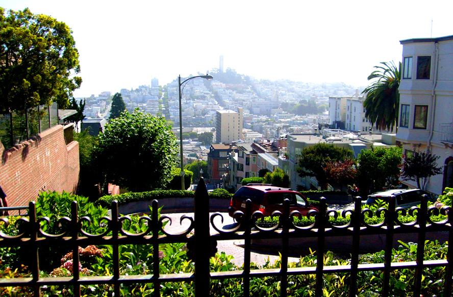 Looking down Lombard Street