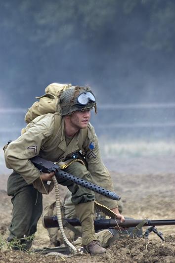 US GI moves forward under fire