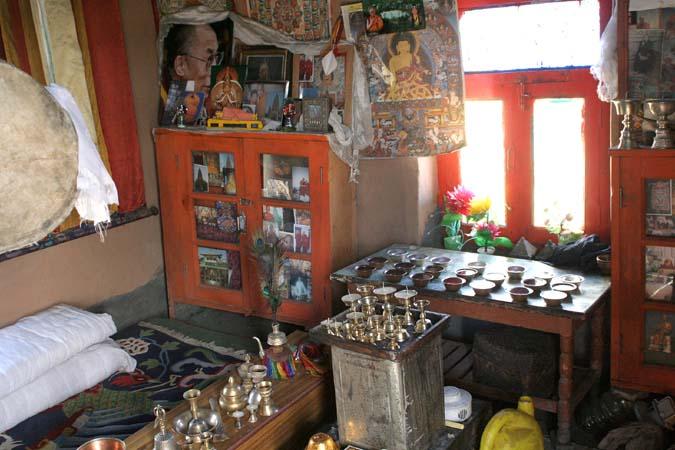 Prayer room in a house in Gete Spiti