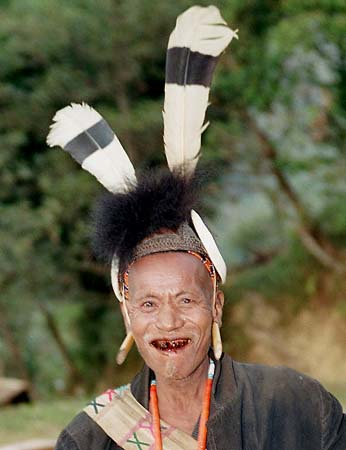Warrior with hornbill feathers.