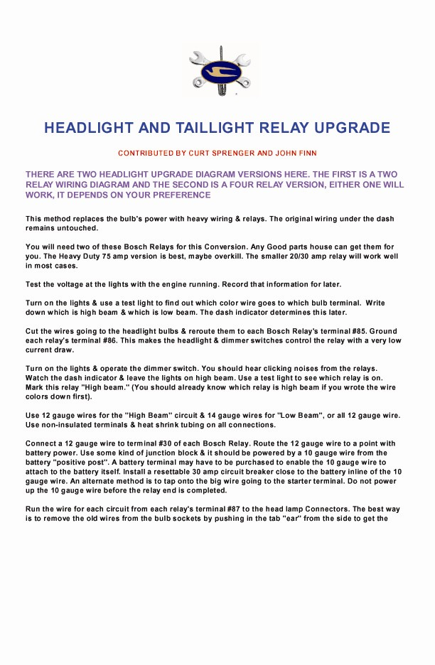HEADLIGHT & TAILLIGHT RELAY UPGRADE  PAGE 1