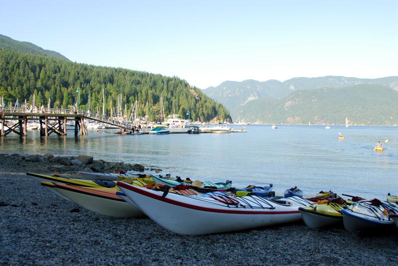 Kayaks in Deep Cove Park