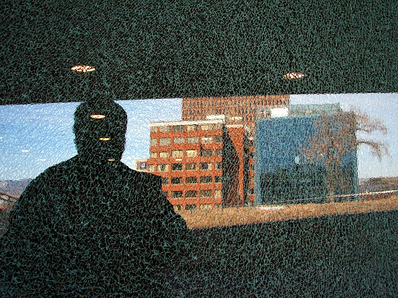 Self portrait through a broken glass