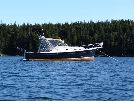 Kaibar (our power boat) At Anchor -