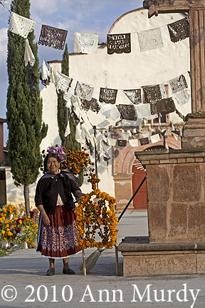 Lady in front of church