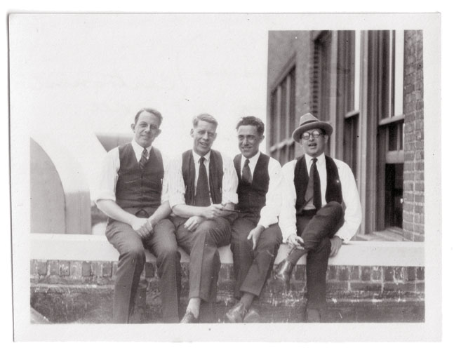 Carl Ed, Gaar Williams, Frank  King, and Frank Willard ( c. 1920), likely on roof of Chicago Tribune (courtesy Chris Ware)