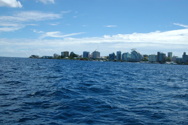 Male, the capital of the Maldives, is a small, crowded island with a growing skyline