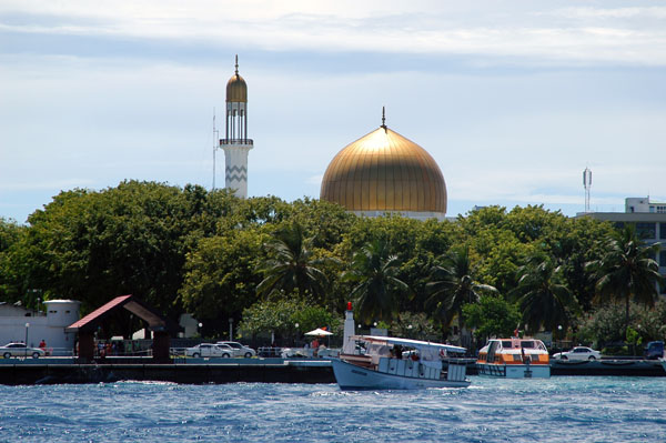 The Grand Friday Mosque at the Islamic Center is Males most dominant building with its gold dome
