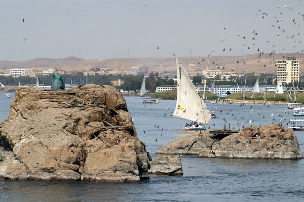 Felucca and rocky outcropping, Aswan