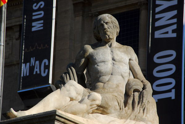 Large male nude on the steps of the National Art Museum of Catalonia