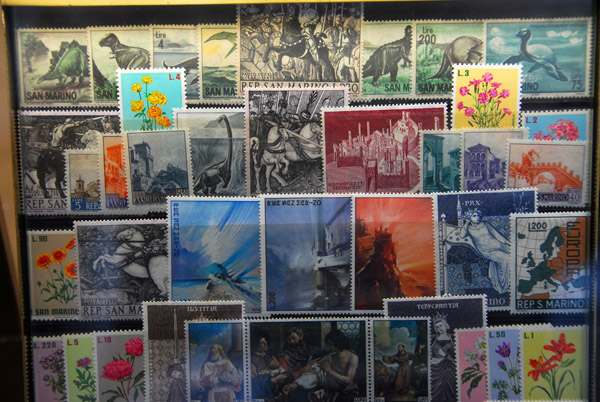 Postage Stamps from San Marino in a shop window on St. Marks Square, Venice