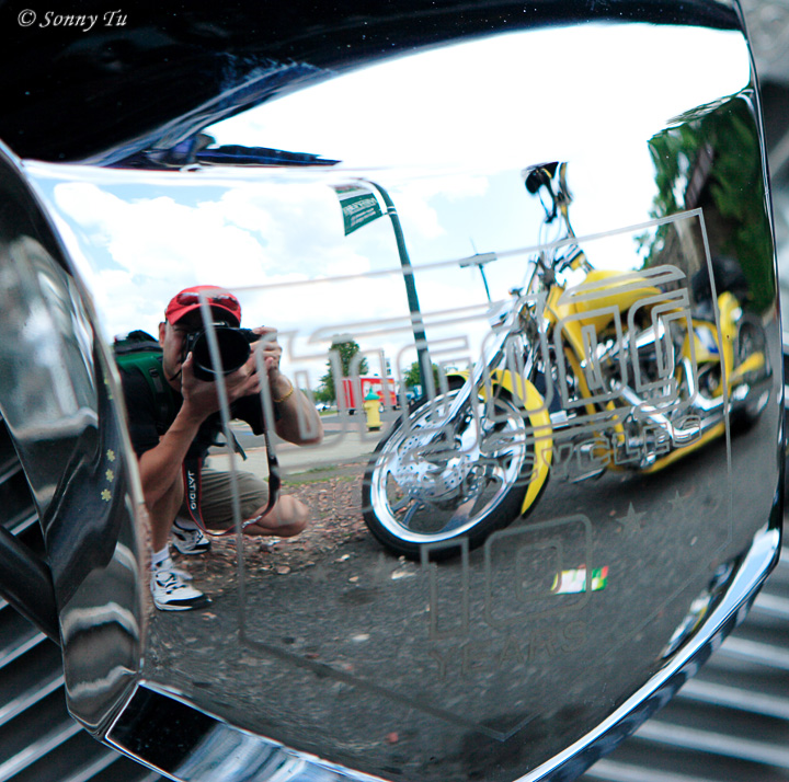 Reflections Off A Motorcycle