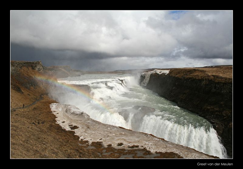 1181 Iceland, waterfall Gullfoss with rainbow