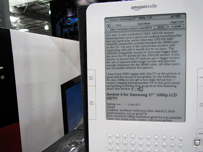 At Costco next door - checking Kindle for web reviews of product