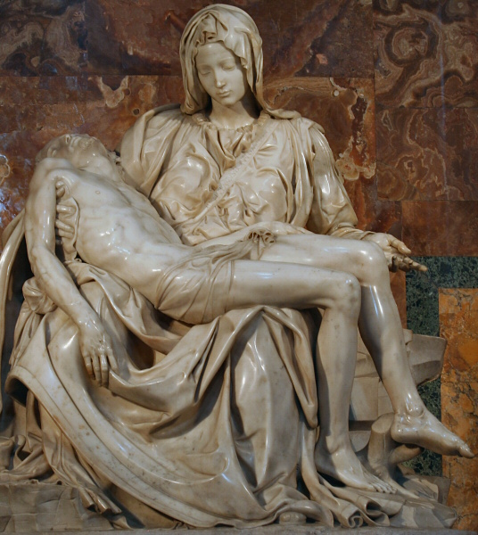 Crucified Jesus and a younger-faced eternal Mary