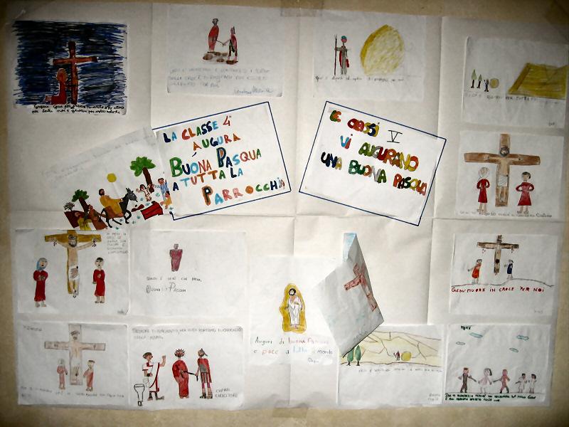 Montalcino churchs children did crucifixion-resurrection scenes.