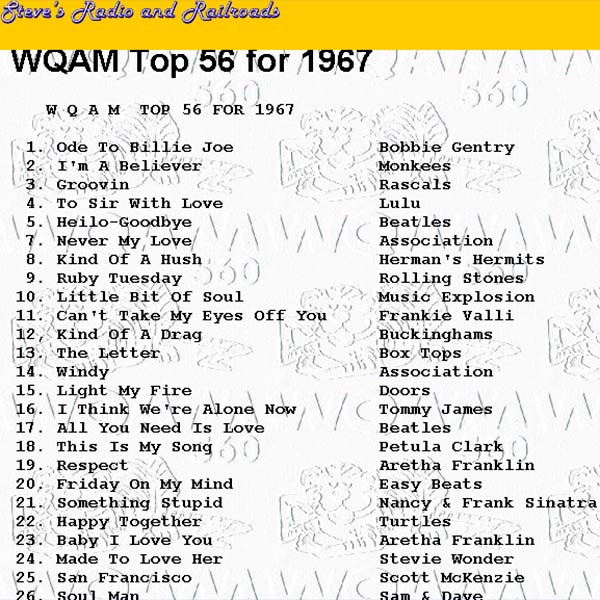 WQAM top songs for 1967 photo - Don Boyd photos at pbase com