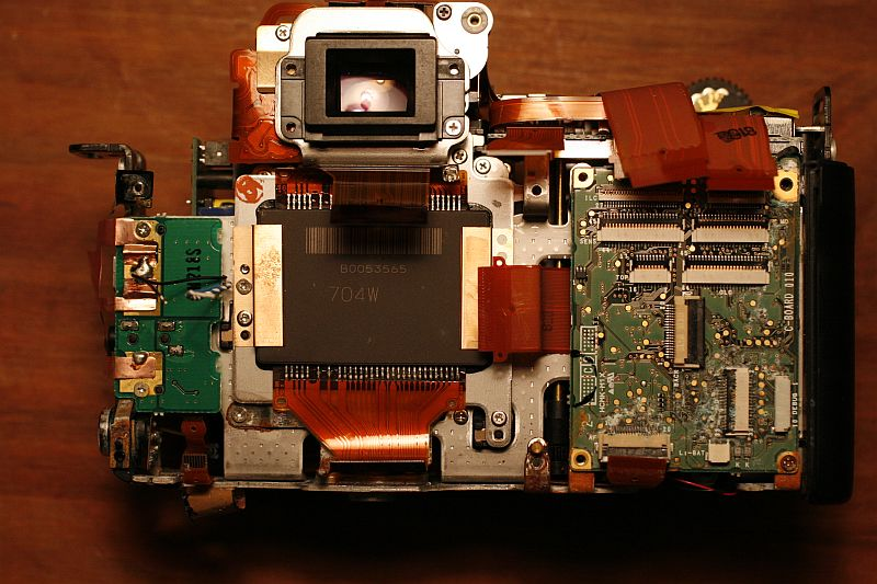 Close up on camera body and image sensor.