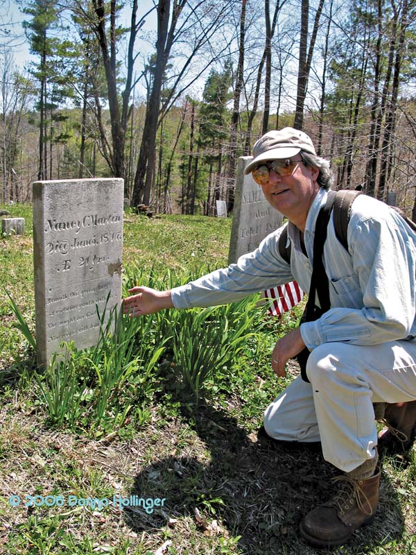 Peter posing with tombstone