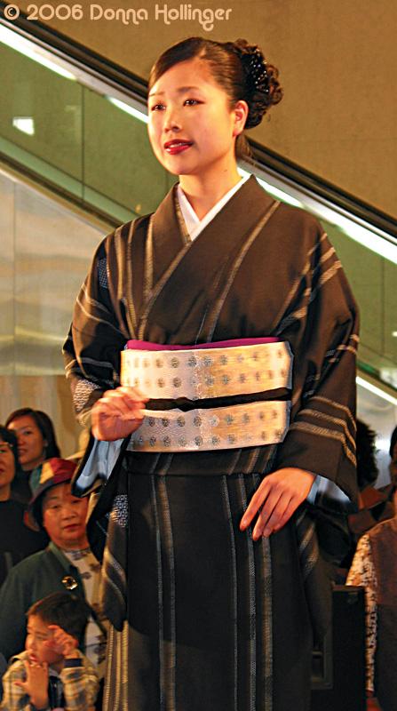 Modeling a brown kimono