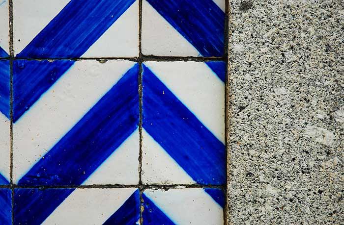 Blue, white and granite