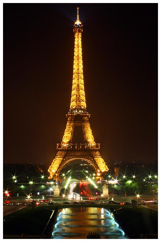 Eiffel at Night with Trocaderro Fountains