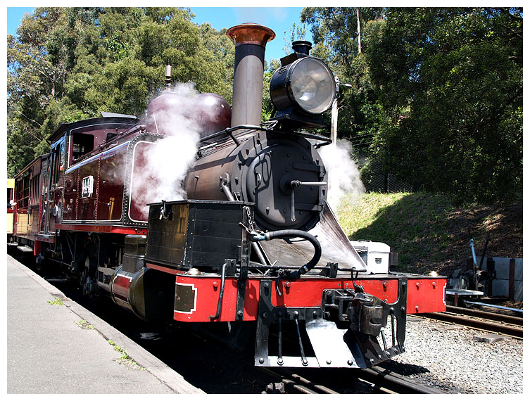 All aboard, Puffing Billy is departing