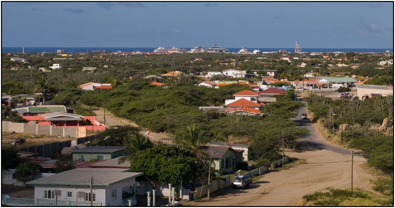 Oranjastad Port as seen from the Casibari Boulders