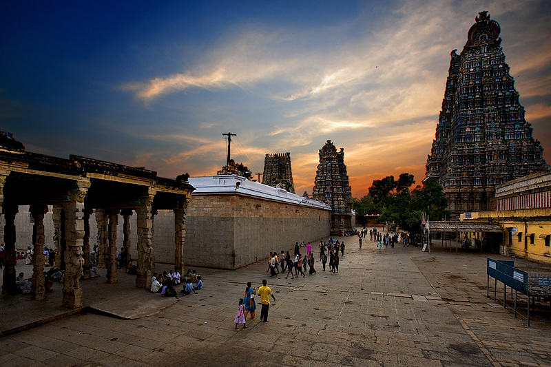 Sunset at the Meenakshi Temple