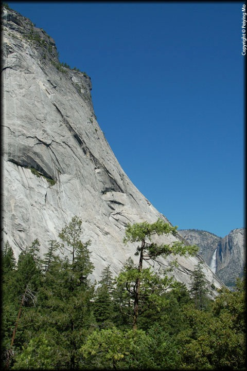 View of  the Upper Yosemite Fall from a hiking trail