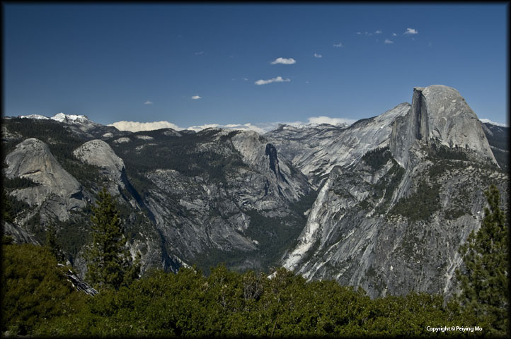 North Dome, Royal Arches, the Basket Dome, Mt. Watkins and the Half Dome