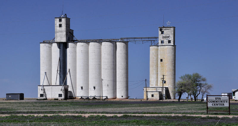 Eva, OK grain elevators.