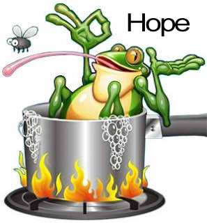 Sitting in a pot of hot water hoping that it doesn't boil over
