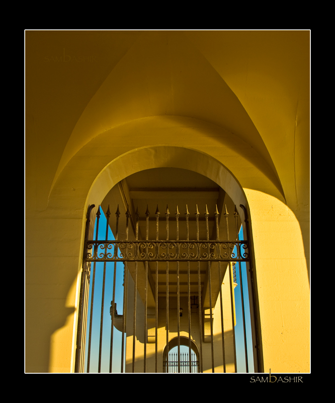 Burrard Bridge Arches - Vancouver. <BR> Another view through the wrought iron towards the other bridge arches.