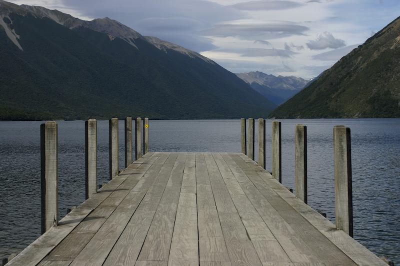 A view of Lake Rotorua towards the Spenser Mountains