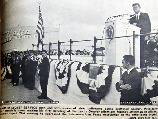1963 - President John F. Kennedy speaking at Miami International Airport 4 days before his assassination