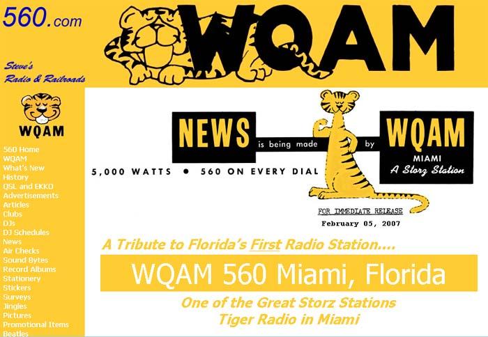 Steves Radio and Railroads Website Tribute to WQAM 560 Tiger Radio
