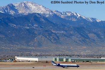 2006 - Colorado Springs Municipal Airport at 6,200 elevation with 14,110 Pikes Peak in the background