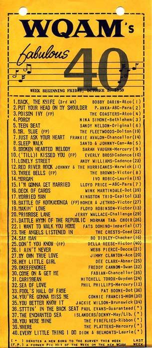 WQAM 560 AM Fabulous 40's top songs for Friday, October 2, 1959
