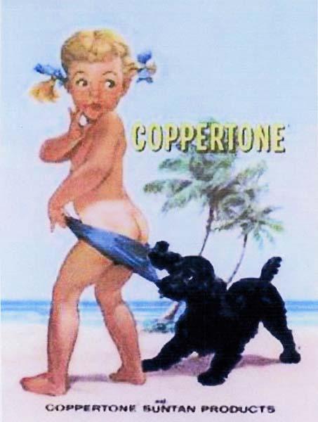 Old Coppertone sun tan lotion advertisement