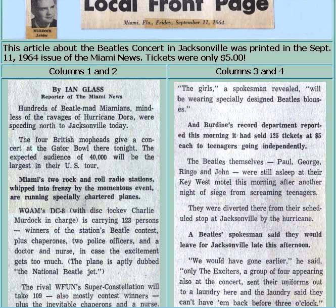 1964 - Miami News article about WQAM and WFUN plane trips to Jacksonville for the Beatles concert