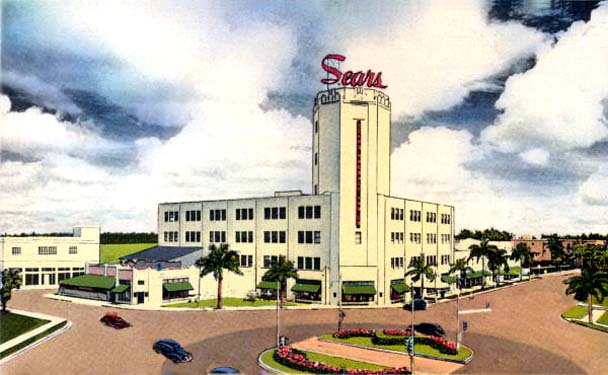 1940s - postcard of the Sears, Roebuck & Company Biscayne Boulevard store