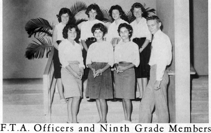 1962 - F. T. A. Officers and Ninth Grade Members at Palm Springs Junior High School, Hialeah